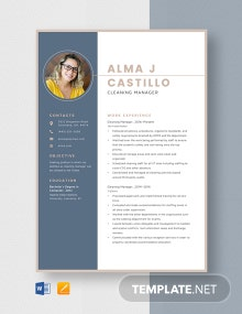 Cleaning Manager Resume Template