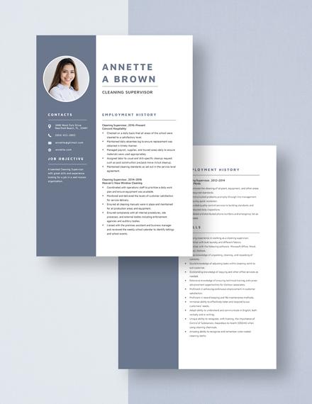 Cleaning Supervisor Resume Download
