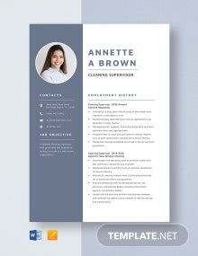 Cleaning Supervisor Resume Template