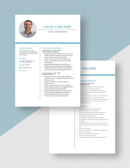 Cobol Programmer Resume Download