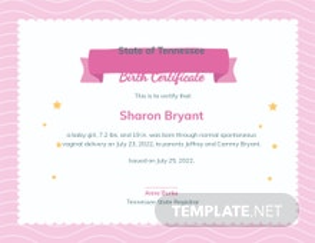 Free Girl Birth Certificate Template