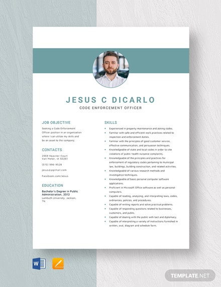 Code Enforcement Officer Resume Template