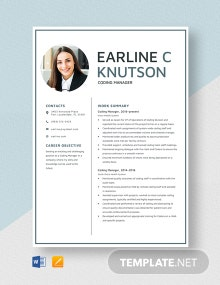 Coding Manager Resume Template