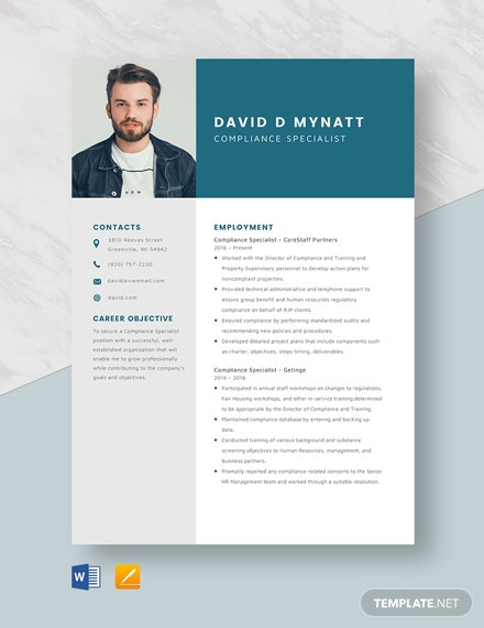 Compliance Specialist Resume Template