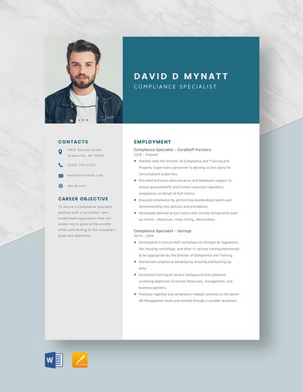 Compliance Specialist Resume Template