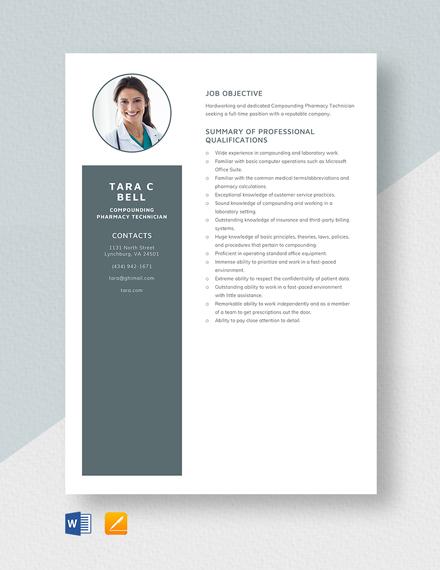 Compounding Pharmacy Technician Resume Template