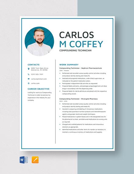 Compounding Technician Resume Template