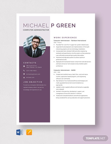 Computer Administrator Resume Template