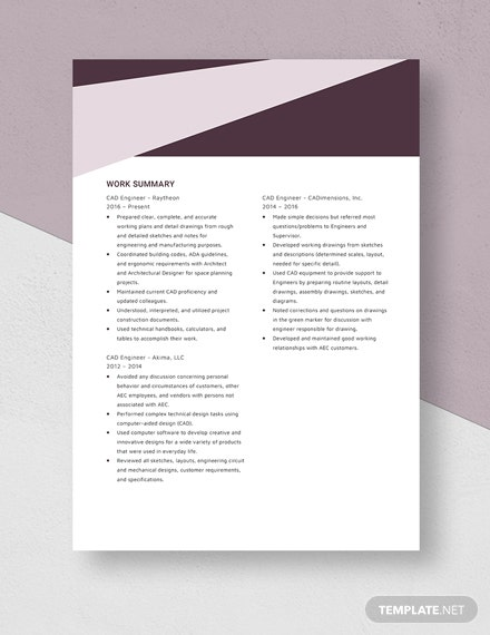 Computer Aided Design  Drafting CAD Engineer Resume Template