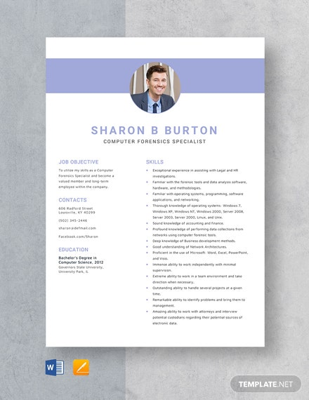 Computer Forensics Specialist Resume Template