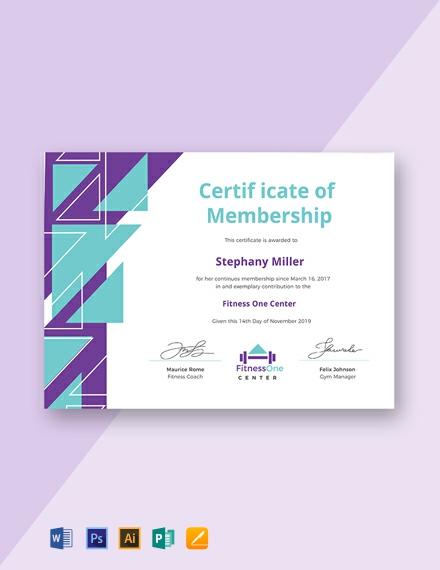 Free Gym Membership Certificate Template