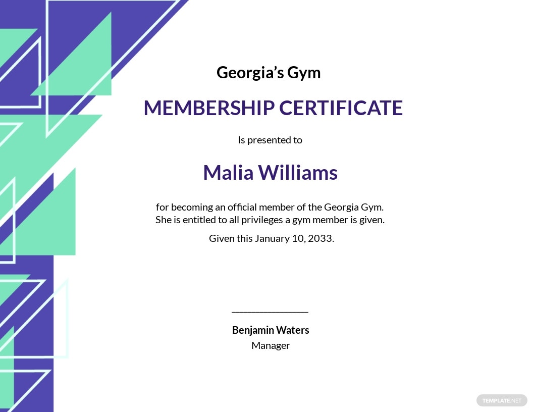 Gym Membership Certificate Template