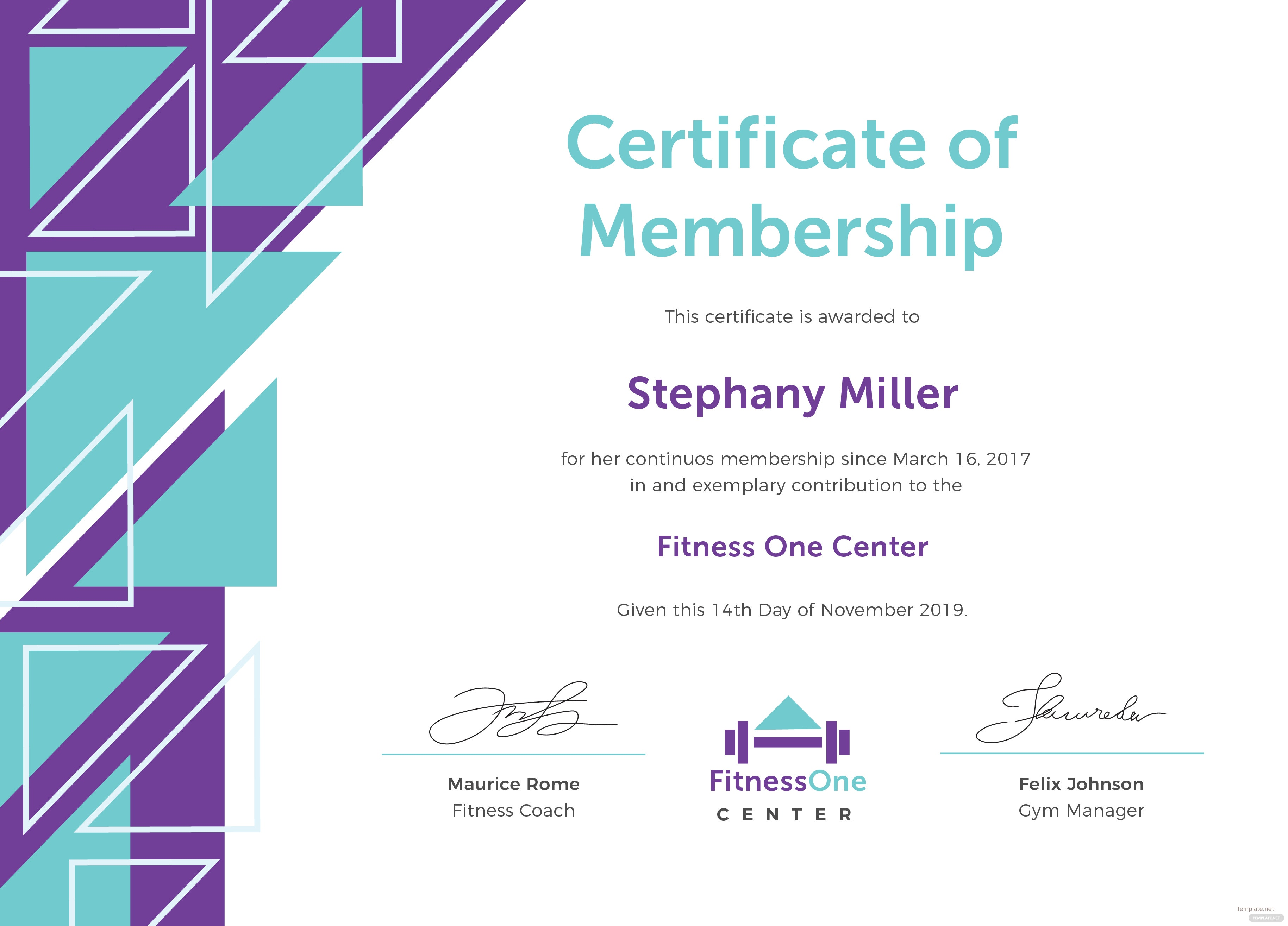 gym membership template