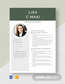 Computer Game Designer Resume Template
