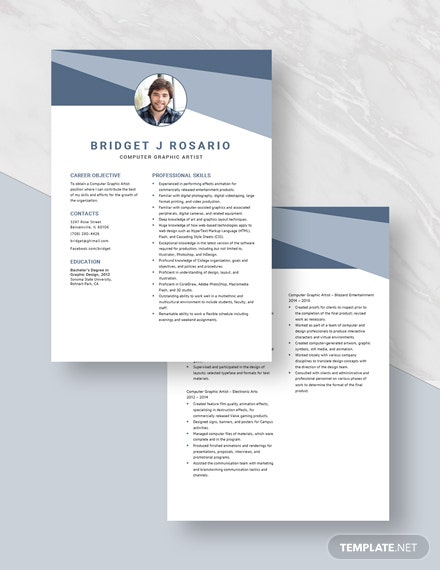 Computer Graphic Artist Resume Download