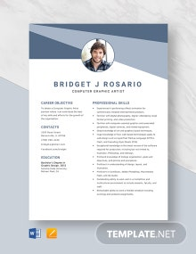 Computer Graphic Artist Resume Template