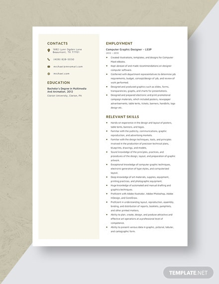 Computer Graphic Designer Resume Template