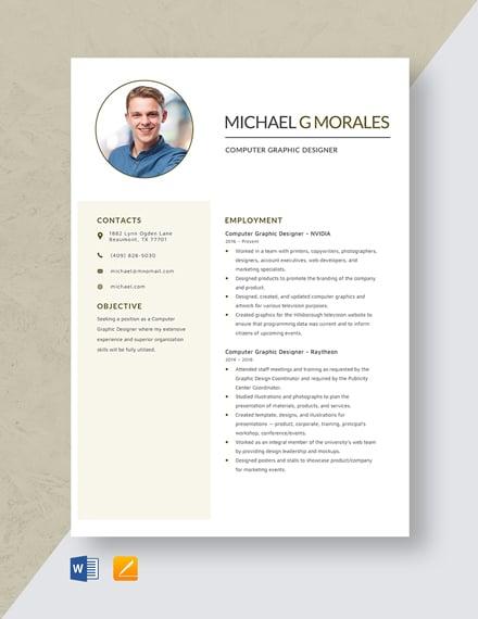 Computer Graphic Designer Resume