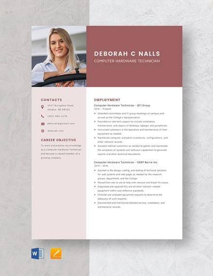 Computer Hardware Technician Resume
