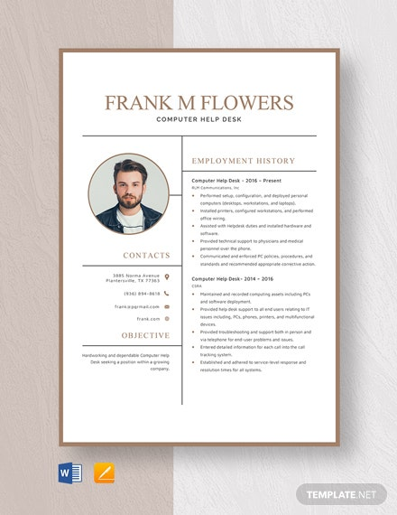 Computer Help Desk Resume Template