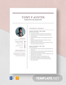 Computer Lab Assistant Resume Template