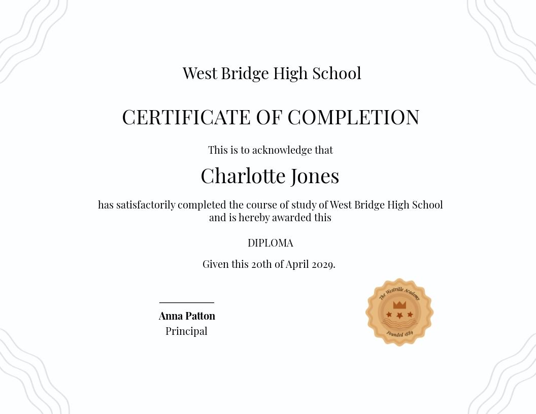 High School Diploma Certificate Template