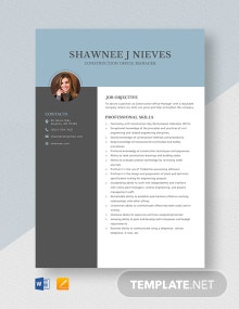 Construction Office Manager Resume Template