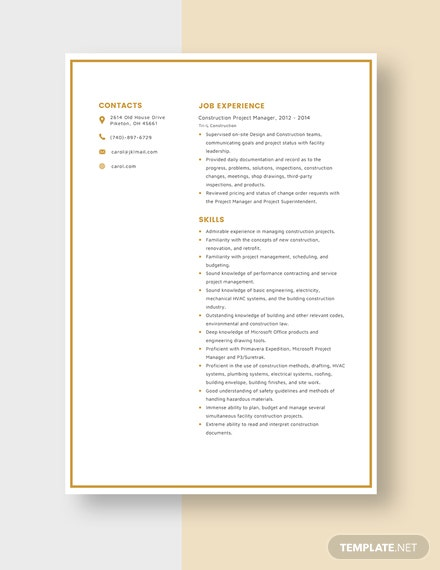 Construction Project Manager Resume Template [Free Pages] - Word, Apple Pages