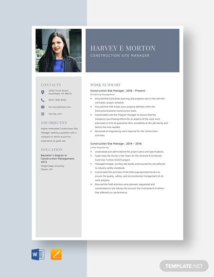 Construction Site Manager Resume Template