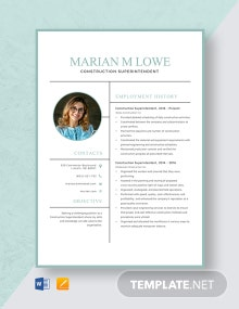 Construction Superintendent Resume Template