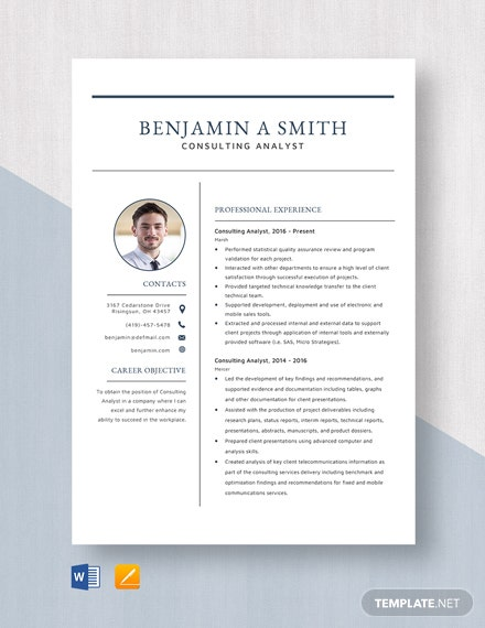 Consulting Analyst Resume Template