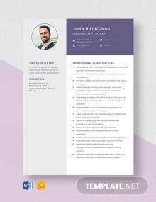 Consumer Safety Officer Resume Template