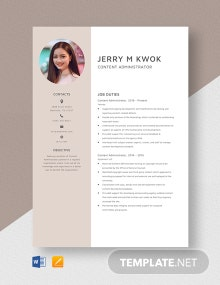 Content Administrator Resume Template