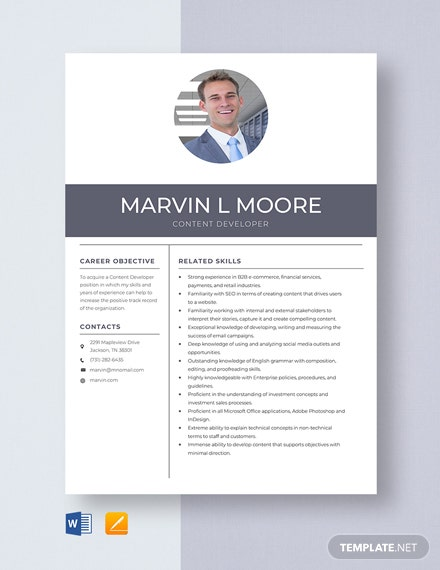 Content Developer Resume