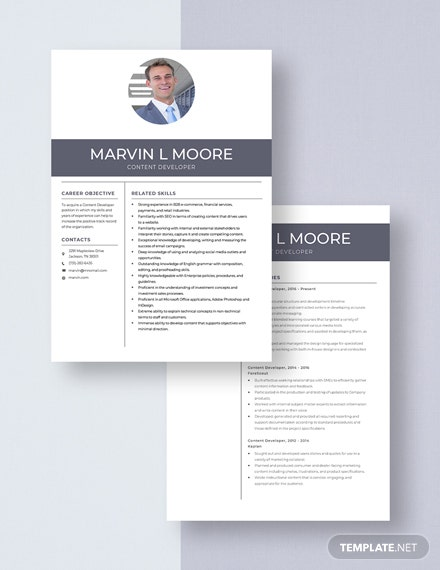 Content Developer Resume Download