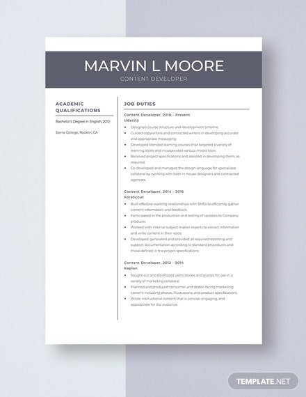 Content Developer Resume Template