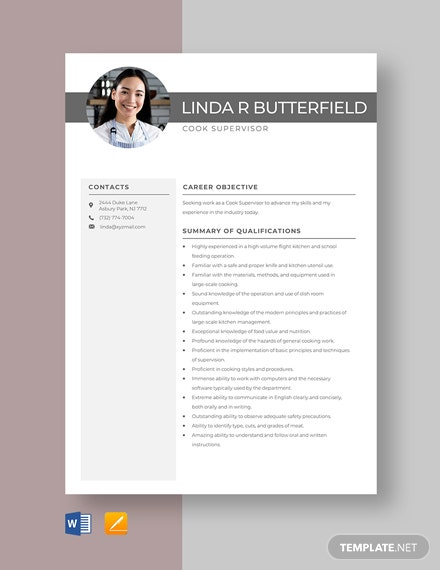 Cook Supervisor Resume Template