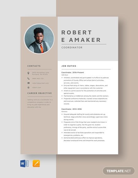Coordinator Resume Template