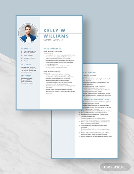 Copier Technician Resume Template [Free Pages] - Word, Apple Pages