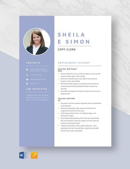 Copy Clerk Resume Template