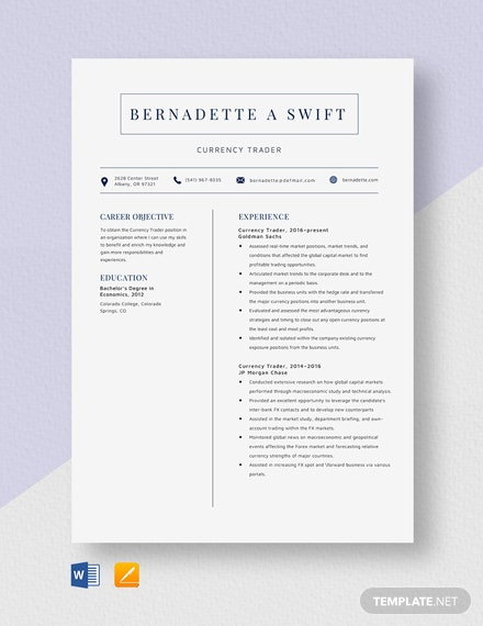Currency Trader Resume Template