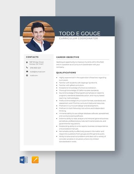 Curriculum Coordinator Resume Template