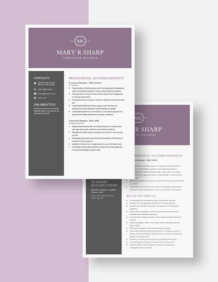 Curriculum Designer Resume Download
