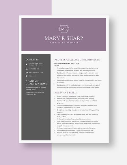 Curriculum Designer Resume Template