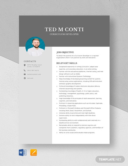 Curriculum Developer Resume Template
