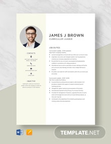 Curriculum Leader Resume Template