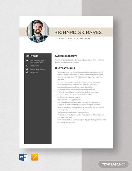 Curriculum Supervisor Resume Template