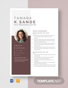 Data Processing Auditor Resume Template