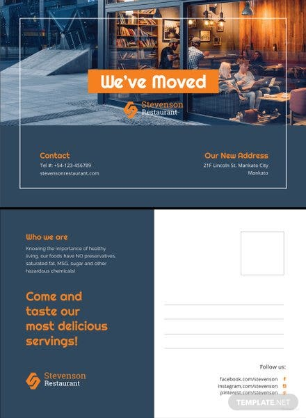 Free Business Moving Postcard Template In Adobe Photoshop PSD - New address postcards template