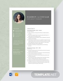 Data Quality Manager Resume Template